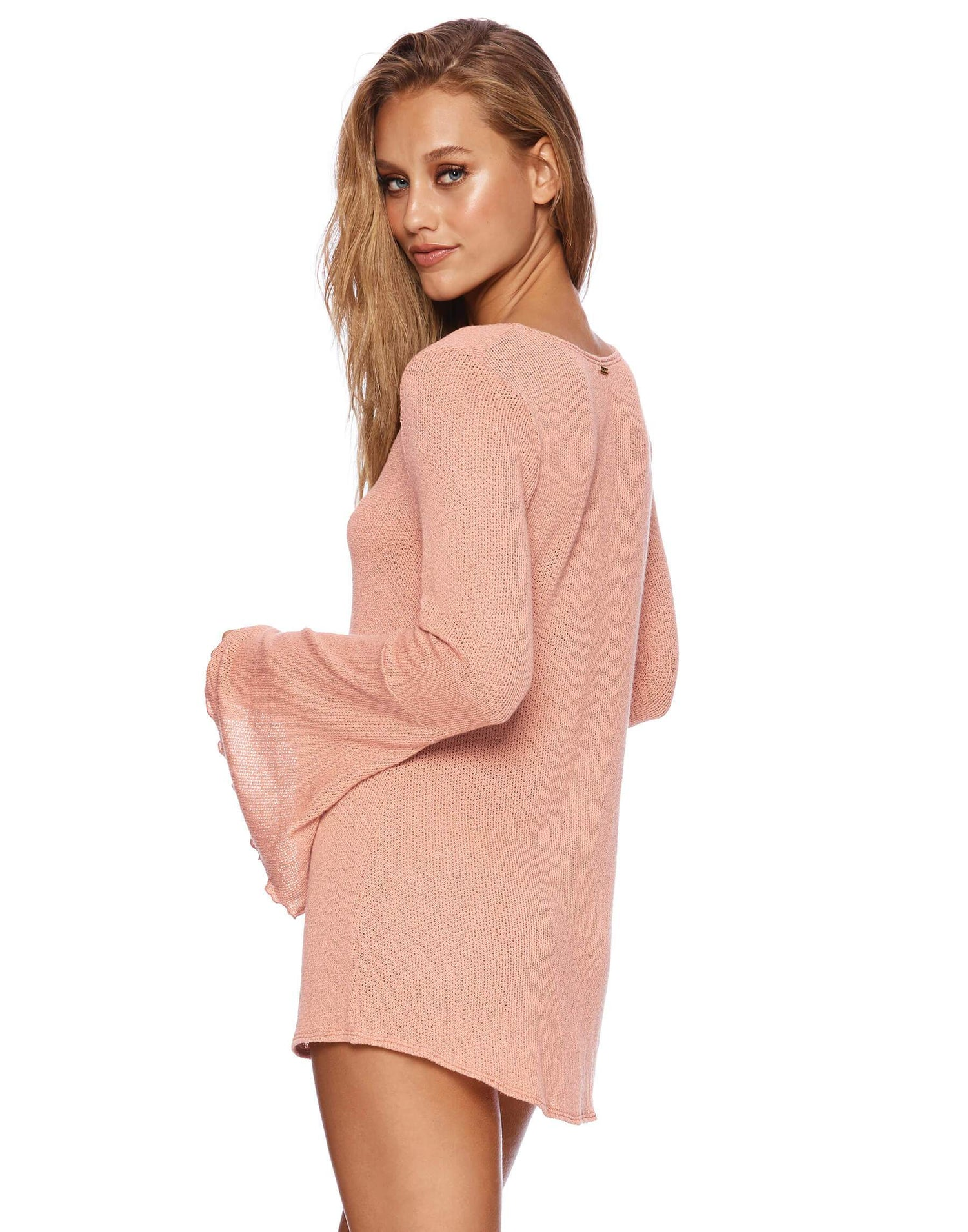 Annika Pink Bell Sleeved Top  - side view