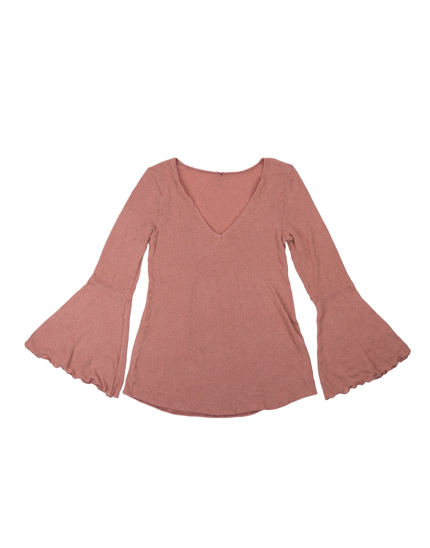Annika Pink Long Bell Sleeved Top - product view