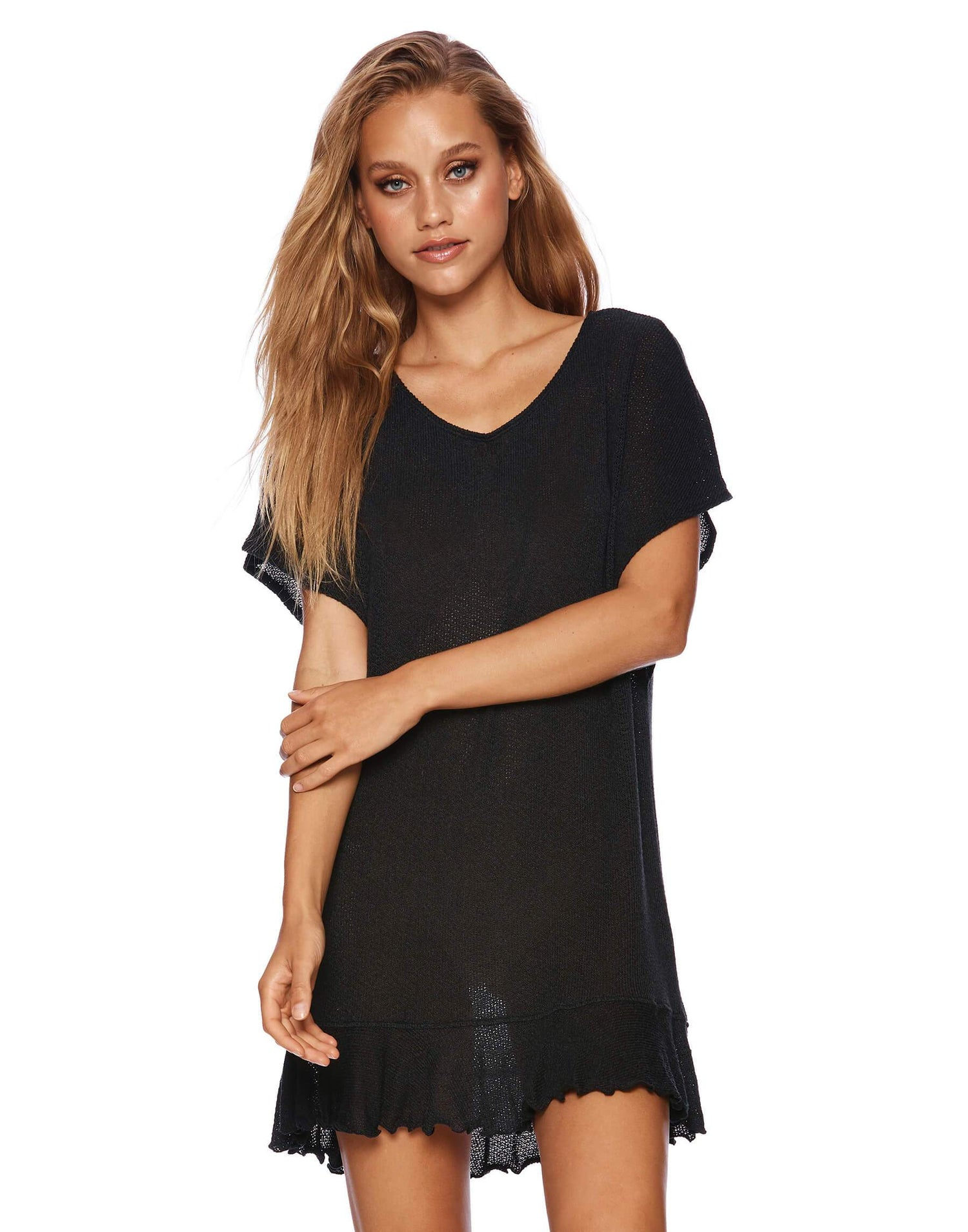 Annika Tunic Ruffle Mini Dress in Black - front view