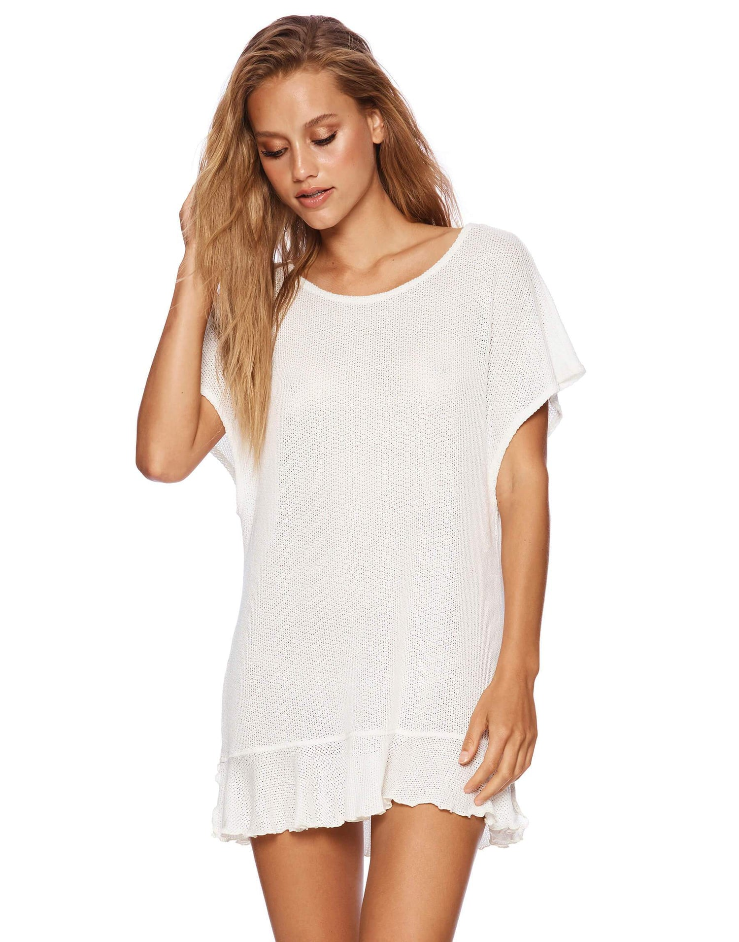 Annika Tunic Ruffle Mini Dress in Ivory - front view