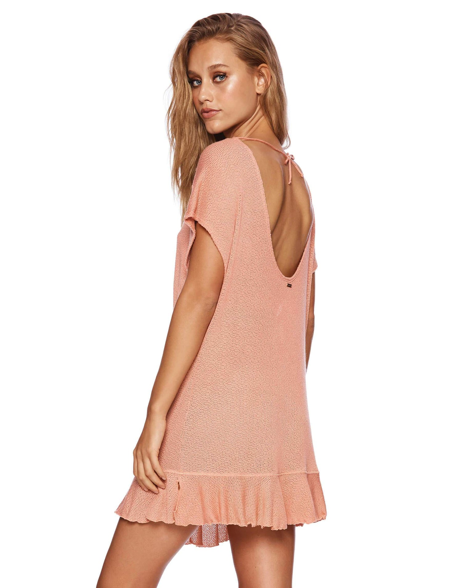 Annika Pink Tunic Mini Dress with Ruffles - side view