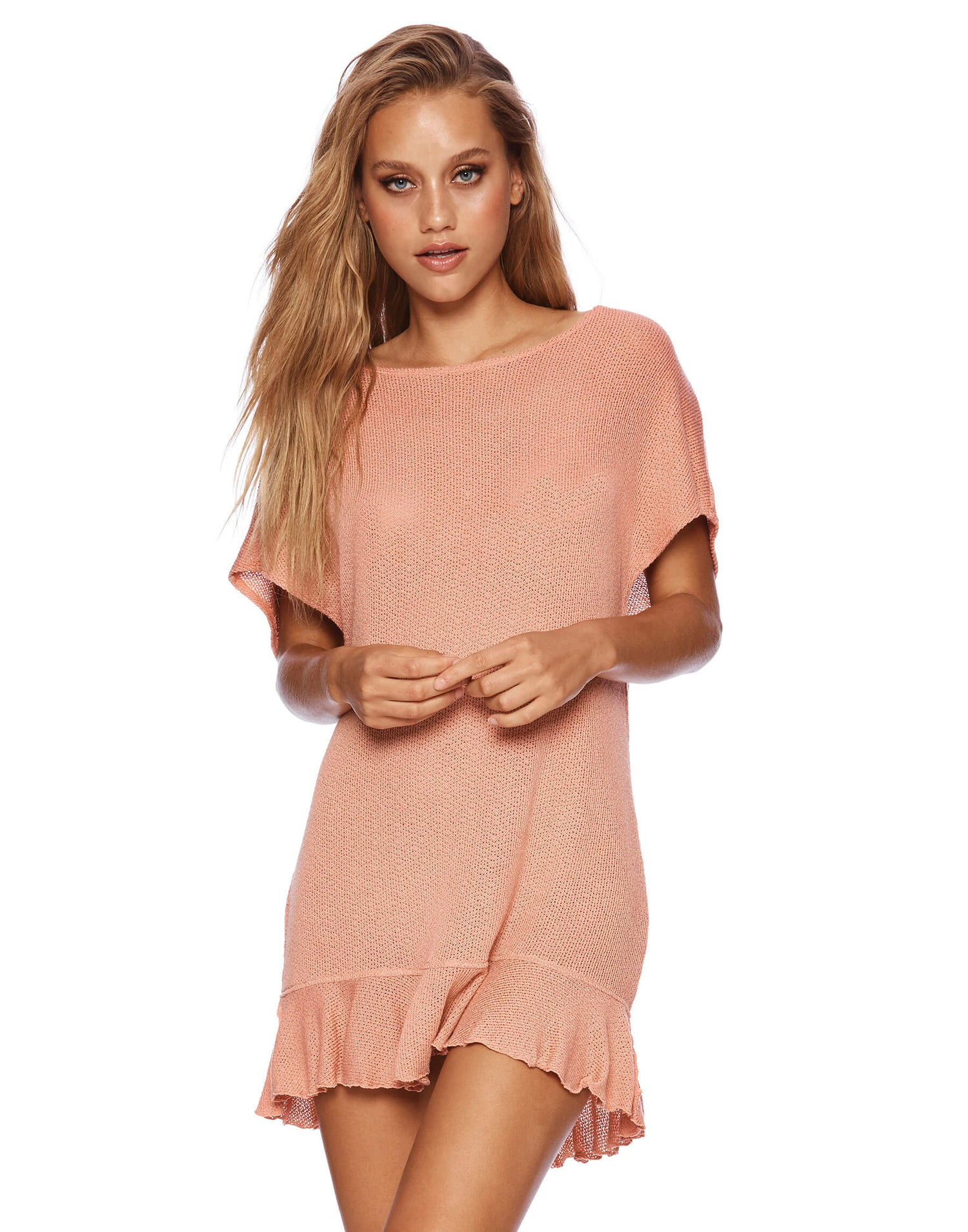 Annika Tunic Ruffle Mini Dress in Rose Pink - front view