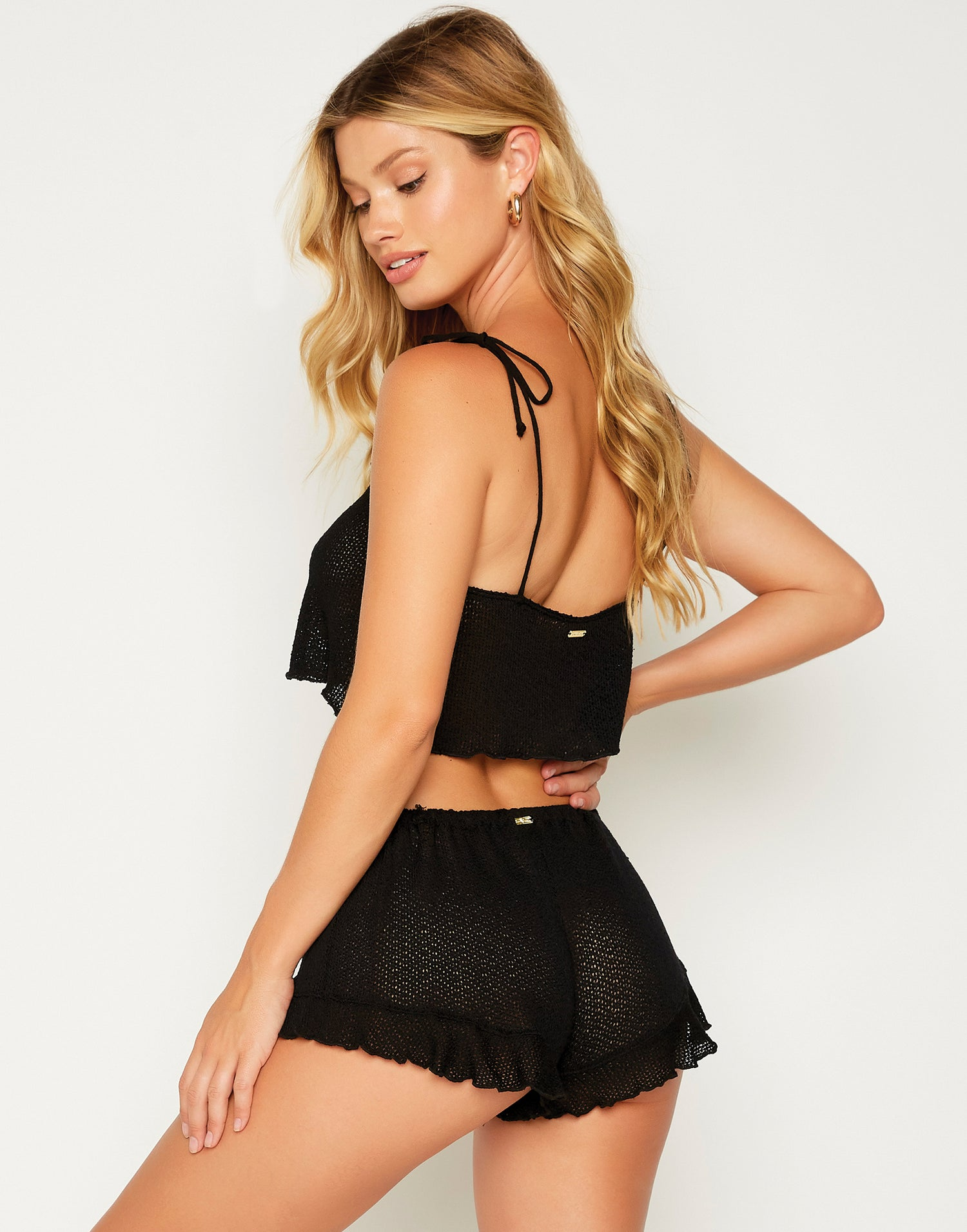 Annika Drawstring Shorts in Black - front view