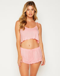 Annika Drawstring Short in Cherry Blossom - Front View