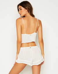Annika Drawstring Shorts in Ivory - back view