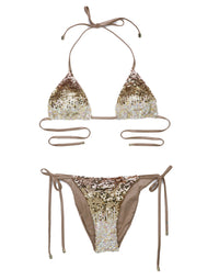 Ariel Tie Side Sexy Bikini Bottom in Gold Sequin - product view