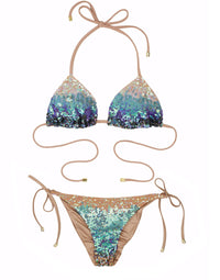 Sexy Ariel Triangle Bikini Top in Blue Sequin - product view