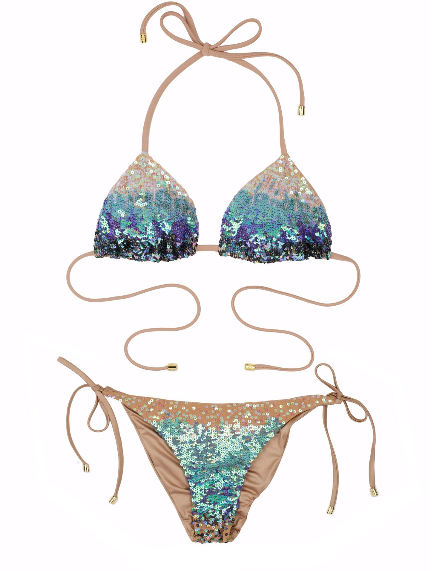 Ariel Tie Side Sexy Bikini with Blue Sequin - product view