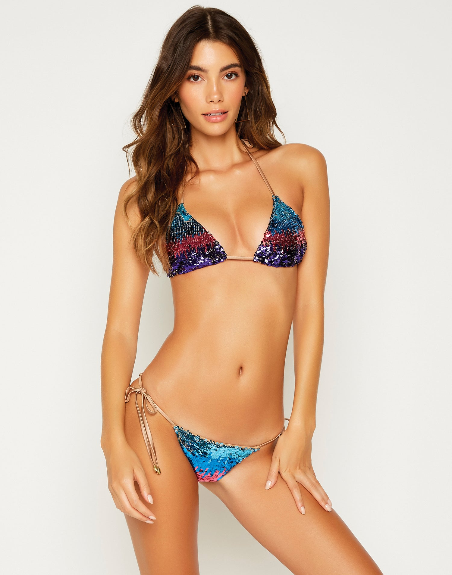 Ariel Triangle Bikini Top in Multi - front view
