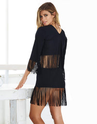 Black Indian Summer Tunic Bikini Cover Up - side view