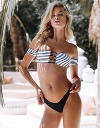 Sydney Brazilian Bikini Bottom in Black - alternate front view