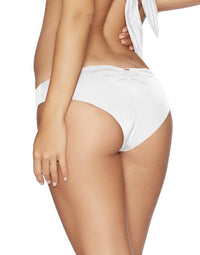 Stephanie Midi Bikini Bottom in White - back view