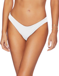 Stephanie Midi Bikini Bottom in White - front view