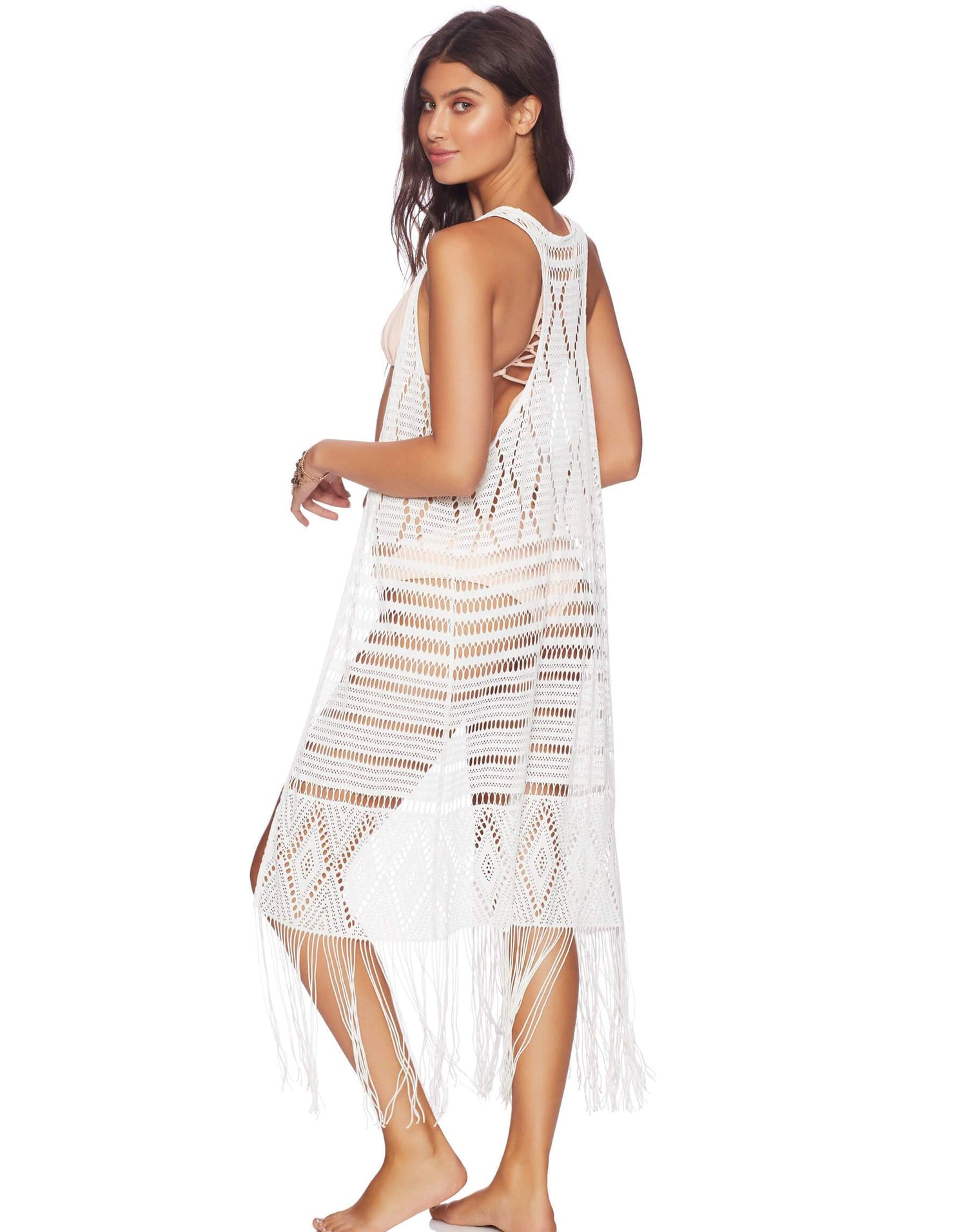 White Long Crochet Beach Cover Up - side view