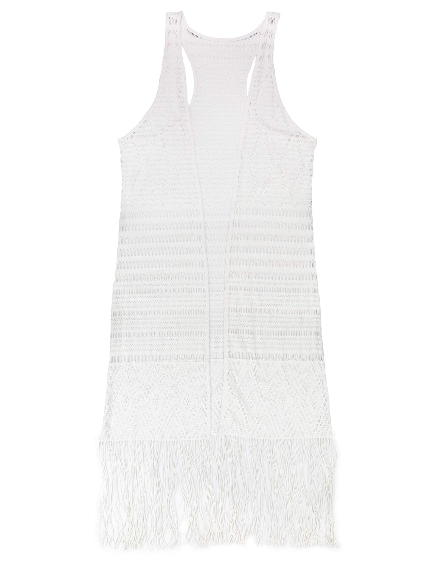 White Long Crochet Beach Cover Up - product view