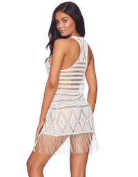White Sexy Crochet Mini Dress with Fringe - back view