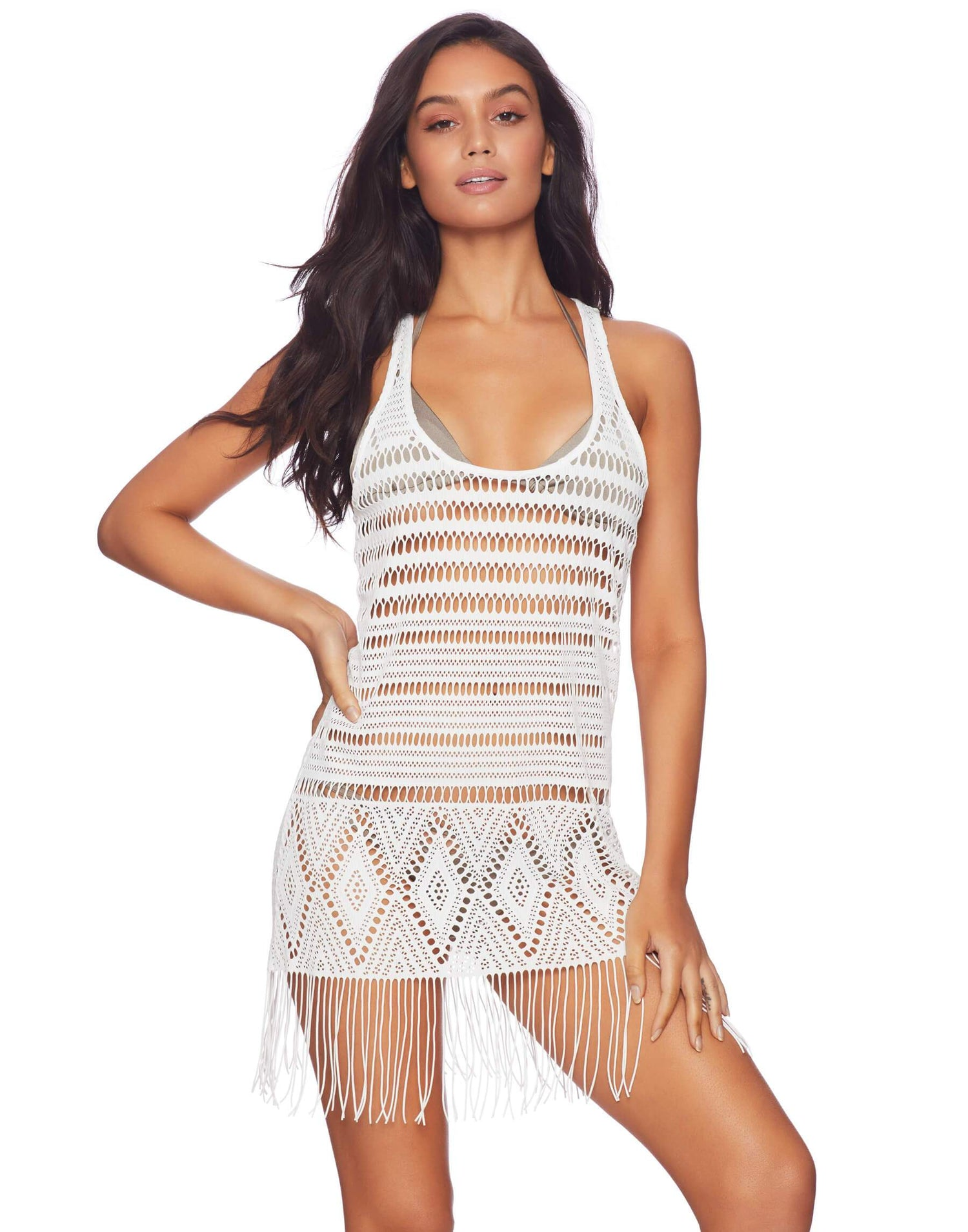 White Crochet Mini Dress with Fringe - front view