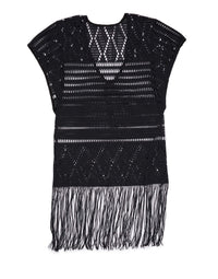 Black Mini Crochet Dress for Beach Cover Up - product view
