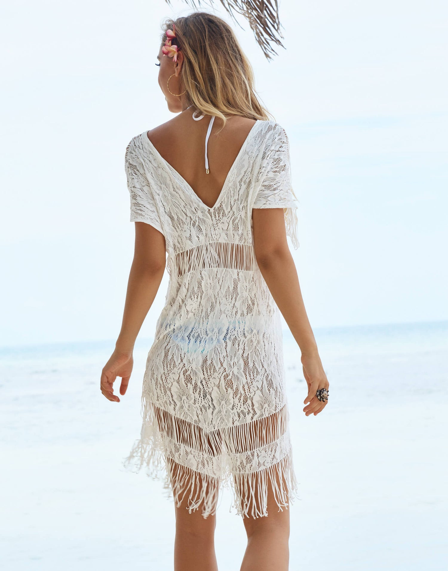 Indian Summer Lace Dress Back View at the Beach