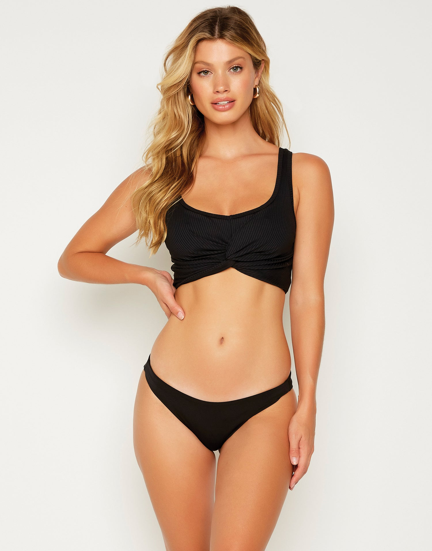 Bailey Crop Bikini Top in Black - front view
