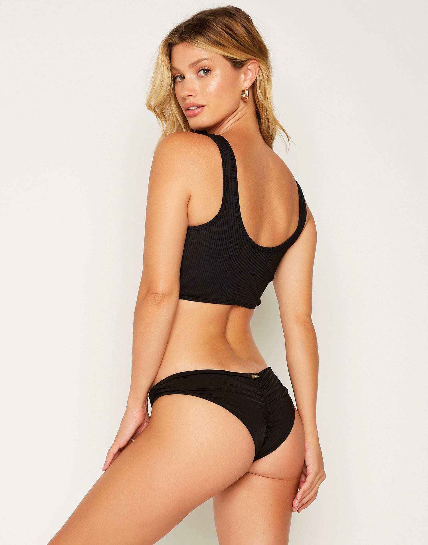 Bailey Crop Bikini Top in Black - back view