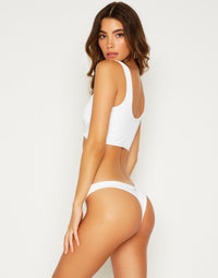 Bailey Crop Bikini Top in White - side view