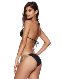 Ball and Chain Skimpy Bikini Bottom in Black with Hardware Detail - front view