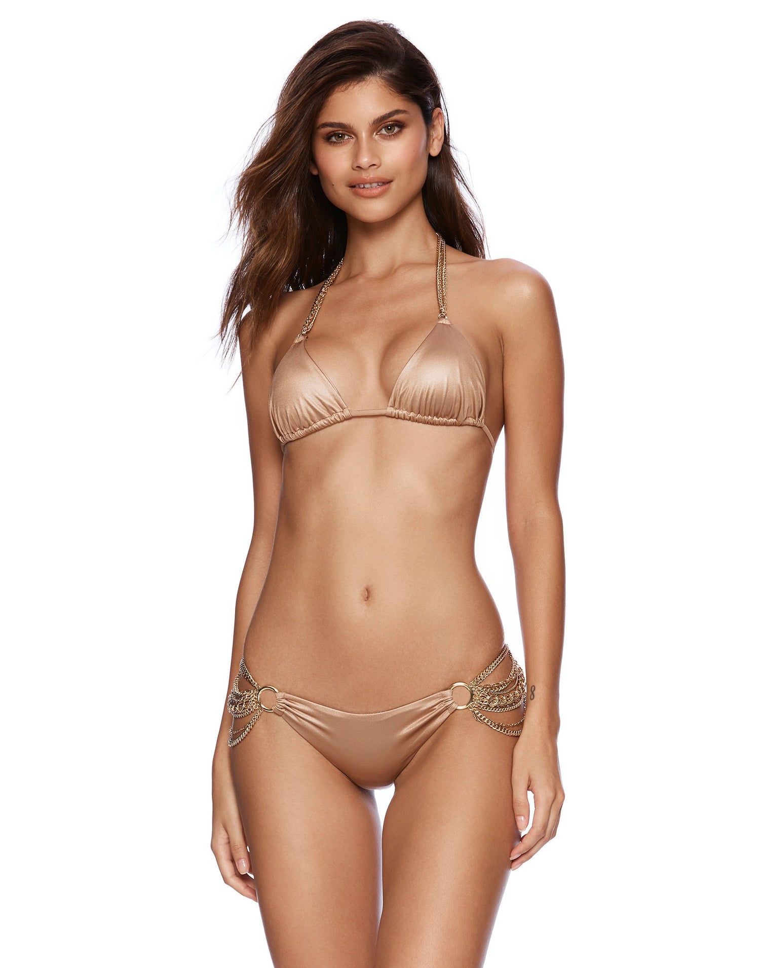 Bronze Ball and Chain Triangle Bikini Top - front view