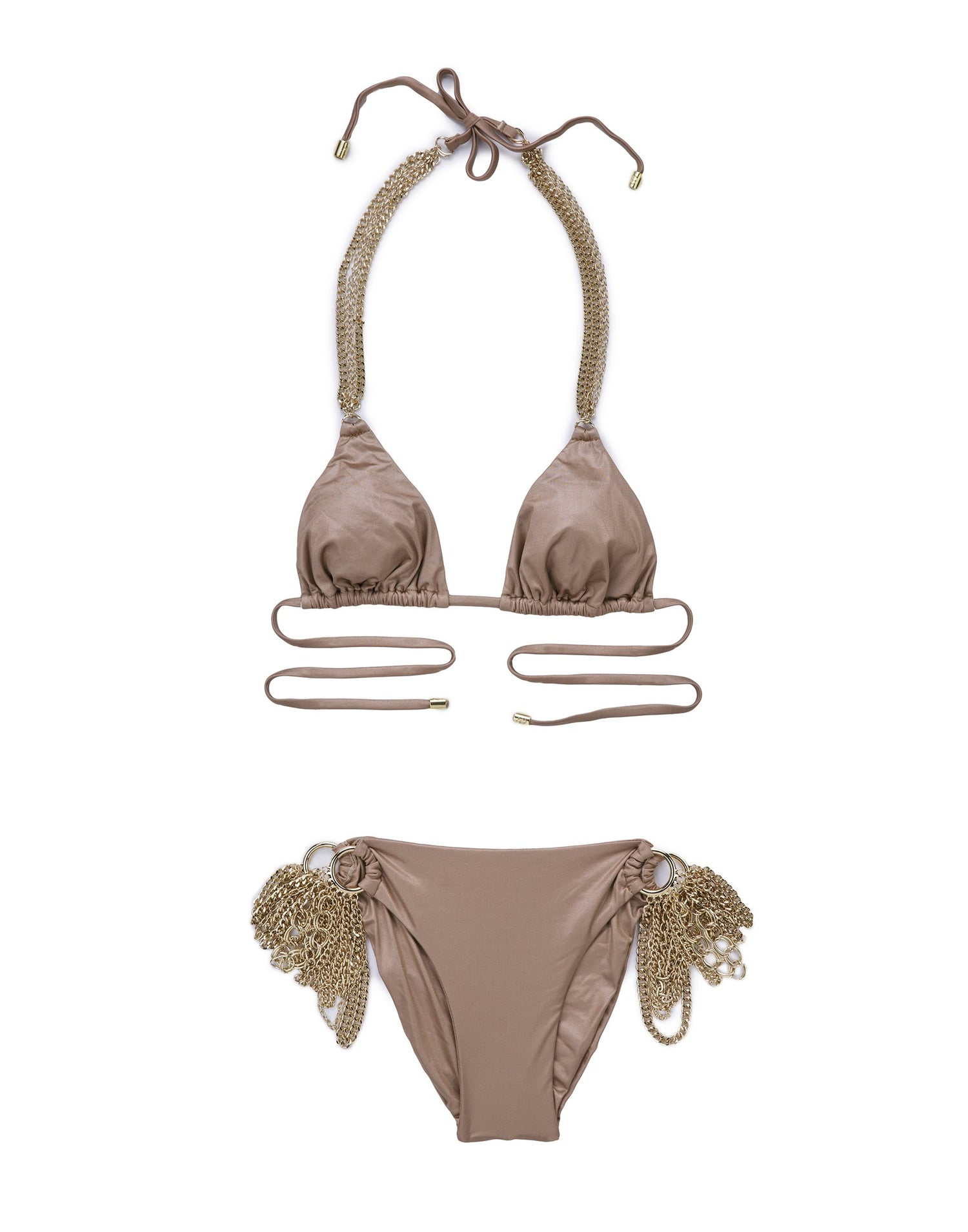 Bronze Ball and Chain Triangle Bikini Top - product view