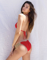 Ball and Chain Skimpy Bikini Bottom in Red with Gold Cascading Chains - Back View