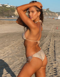Ball and Chain Skimpy Bikini Bottom in Nude Sequins with Silver Cascading Chains - Back View