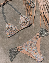 Ball and Chain Skimpy Bikini Bottom in Nude Sequins with Silver Cascading Chains - Product View