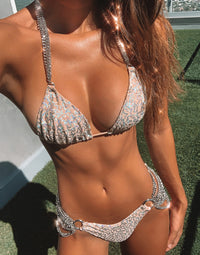 Ball and Chain Skimpy Bikini Bottom in Nude Sequins with Silver Cascading Chains - Detail View