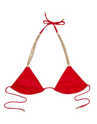 red triangle bikini top with hardware detail - product view