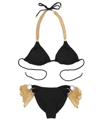 Ball and Chain Triangle Bikini Top in Black with Hardware Details - product view