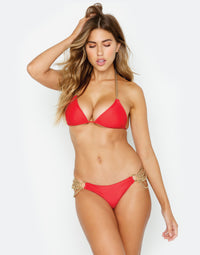 Ball and Chain Skimpy Bikini Bottom in Red with Gold Cascading Chains - Alternate Front View