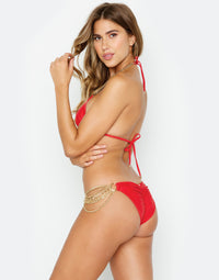 Ball and Chain Skimpy Bikini Bottom in Red with Gold Cascading Chains - Side View