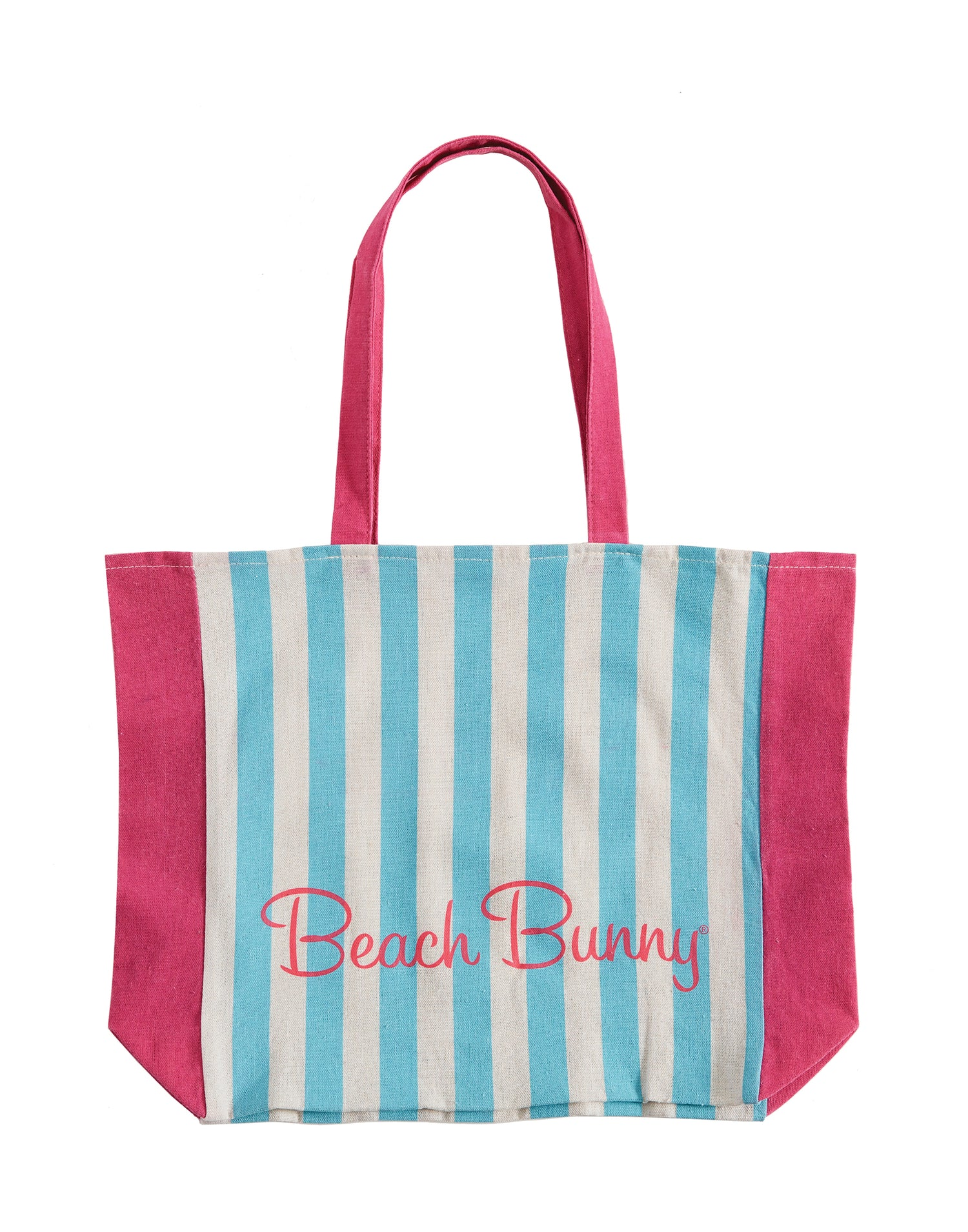 Beach Bunny Tote with Blue and Pink Stripes