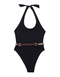 Black One Piece Bathing Suit Halter - Product View