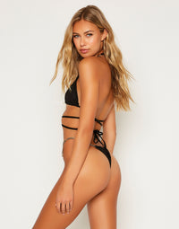 Brooklyn Triangle Bikini Top with Straps in Black with Gold Chain Hardware - Back View