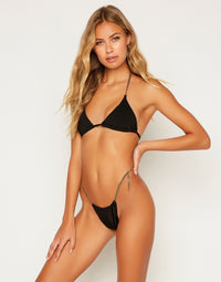 Brooklyn Triangle Bikini Top in Black with Gold Chain Hardware - Alternate Front View