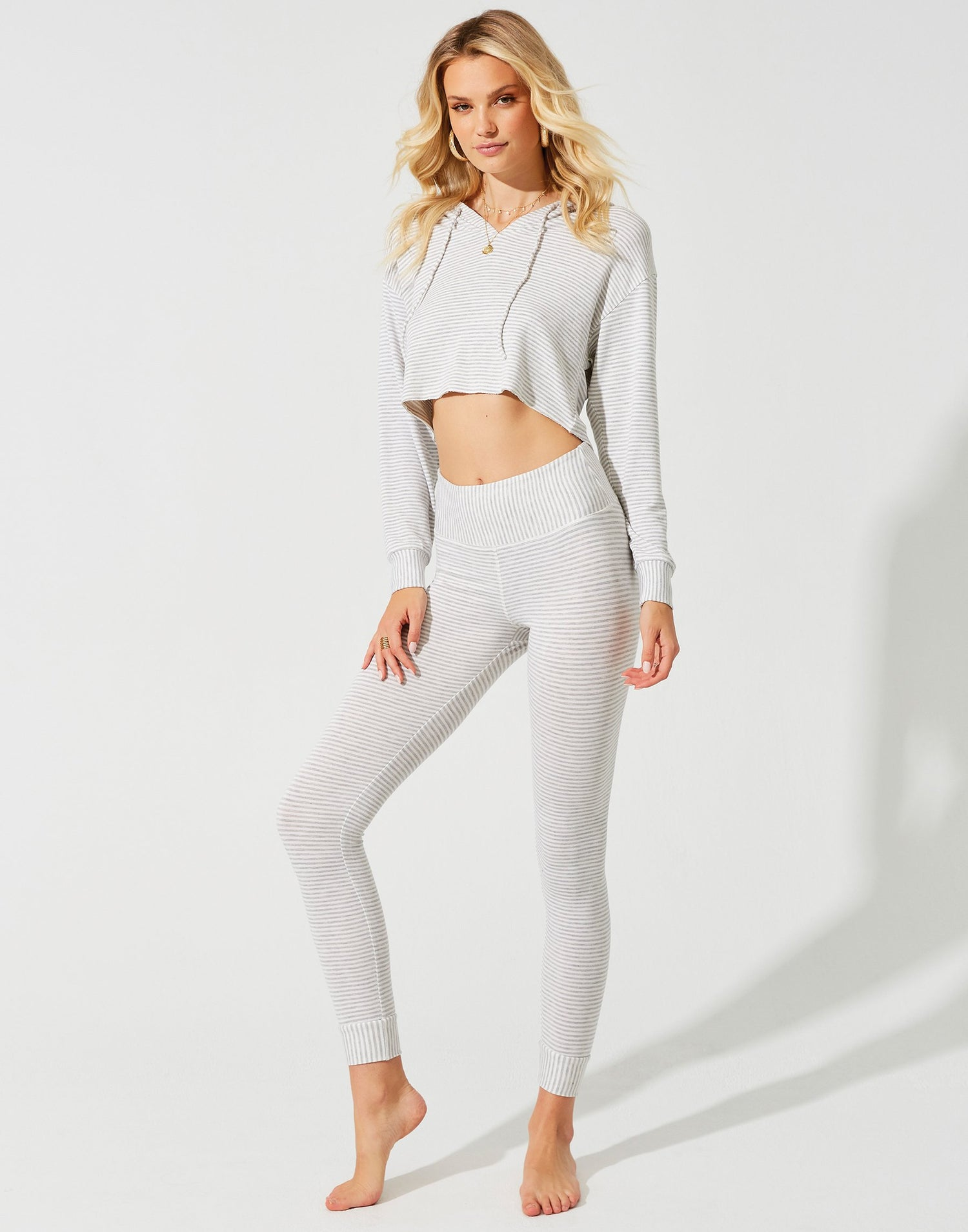 Cameron High Waist Legging in Grey/Cream - front view