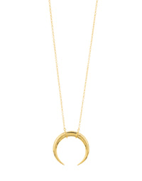 Cayne Crescent Pendant Necklace Gold Front