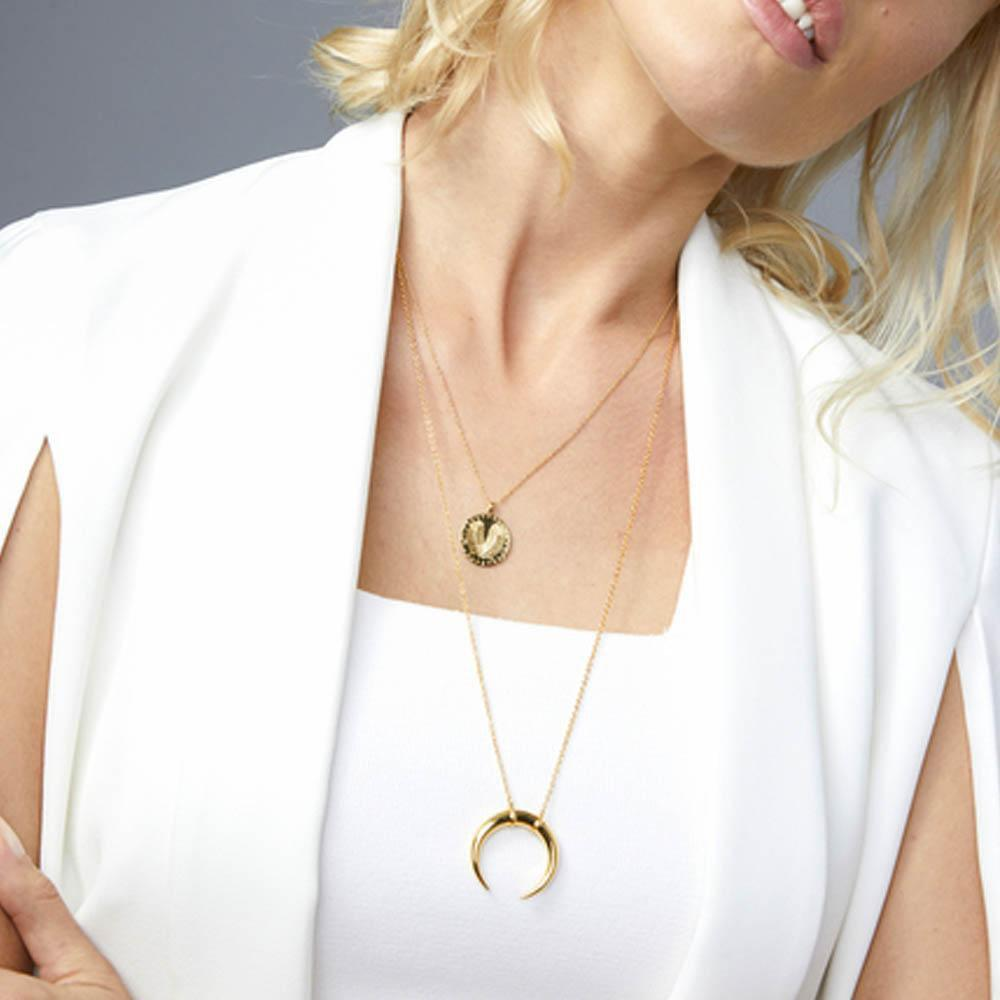 Cayne Crescent Pendant Necklace Gold Model