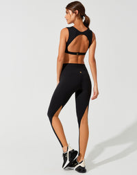 Addison Legging in Black with Nude Mesh Color-Block - Back View