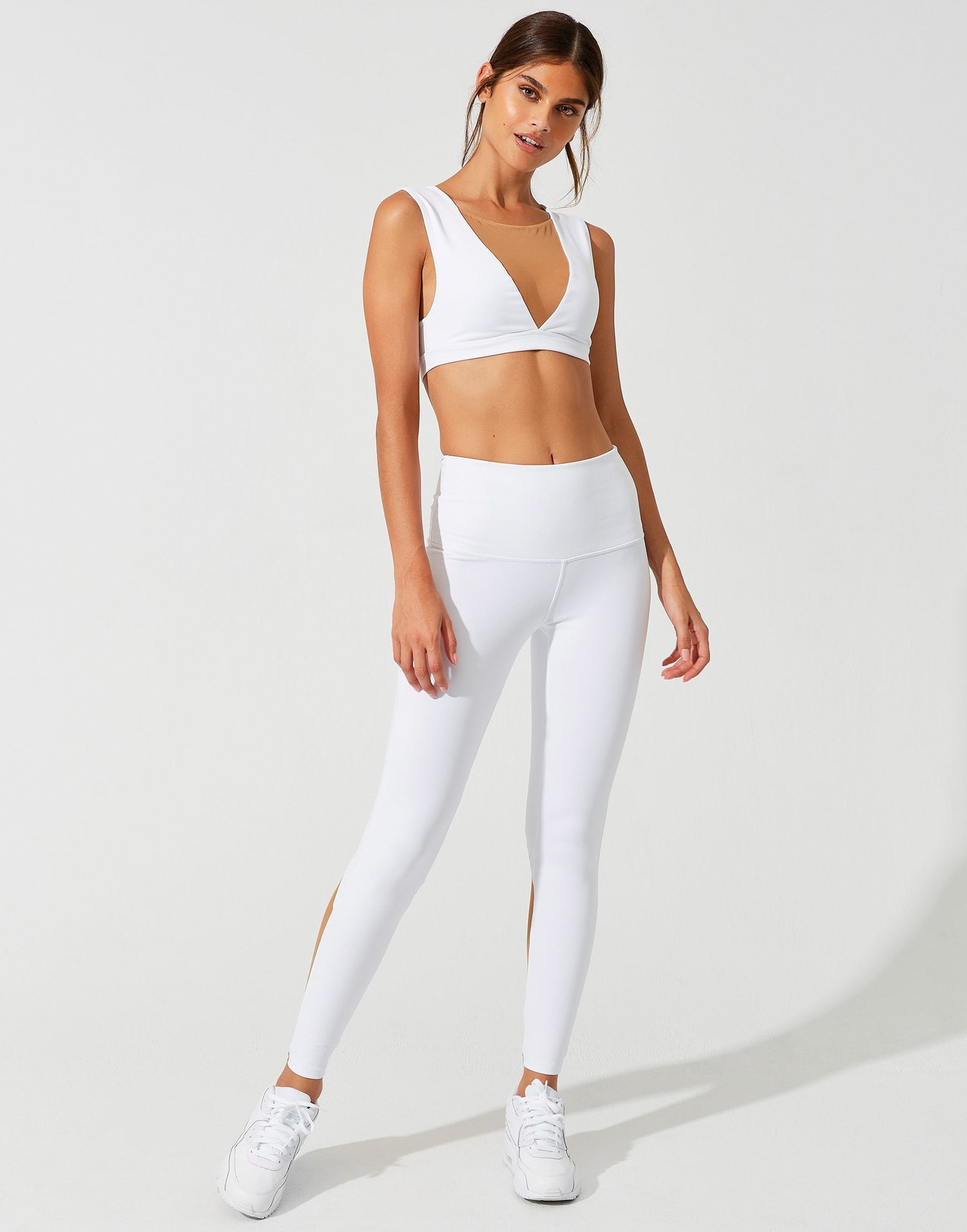 Chloe Crop Top in White with Nude Mesh Color-Block - front view