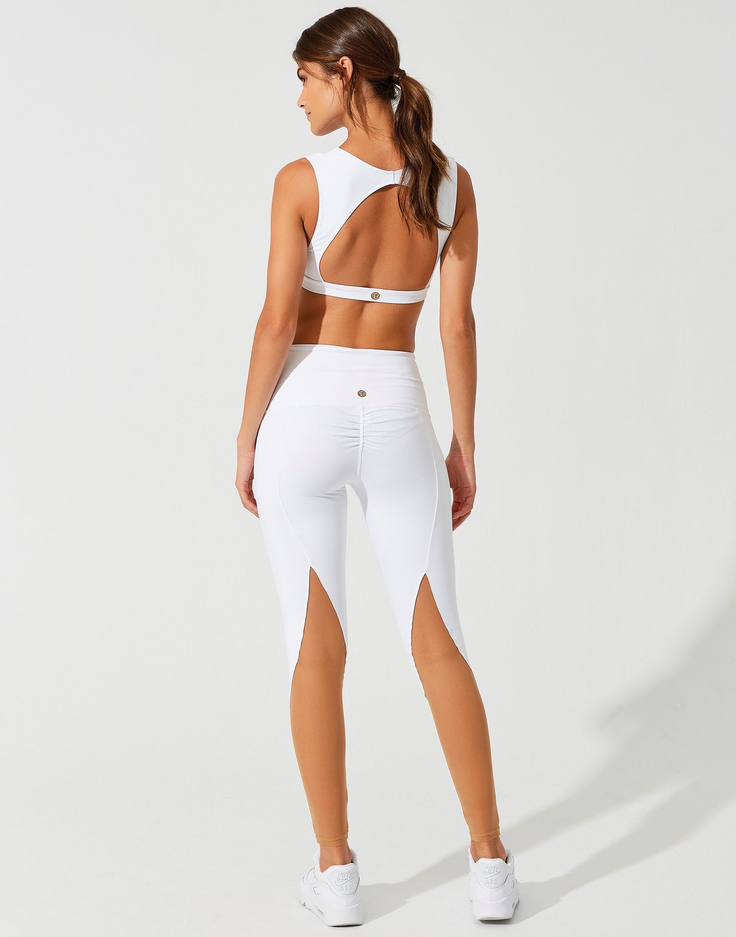Chloe Crop Top in White with Open Back - back view