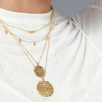 Compass Coin Necklace Gold Model Detail