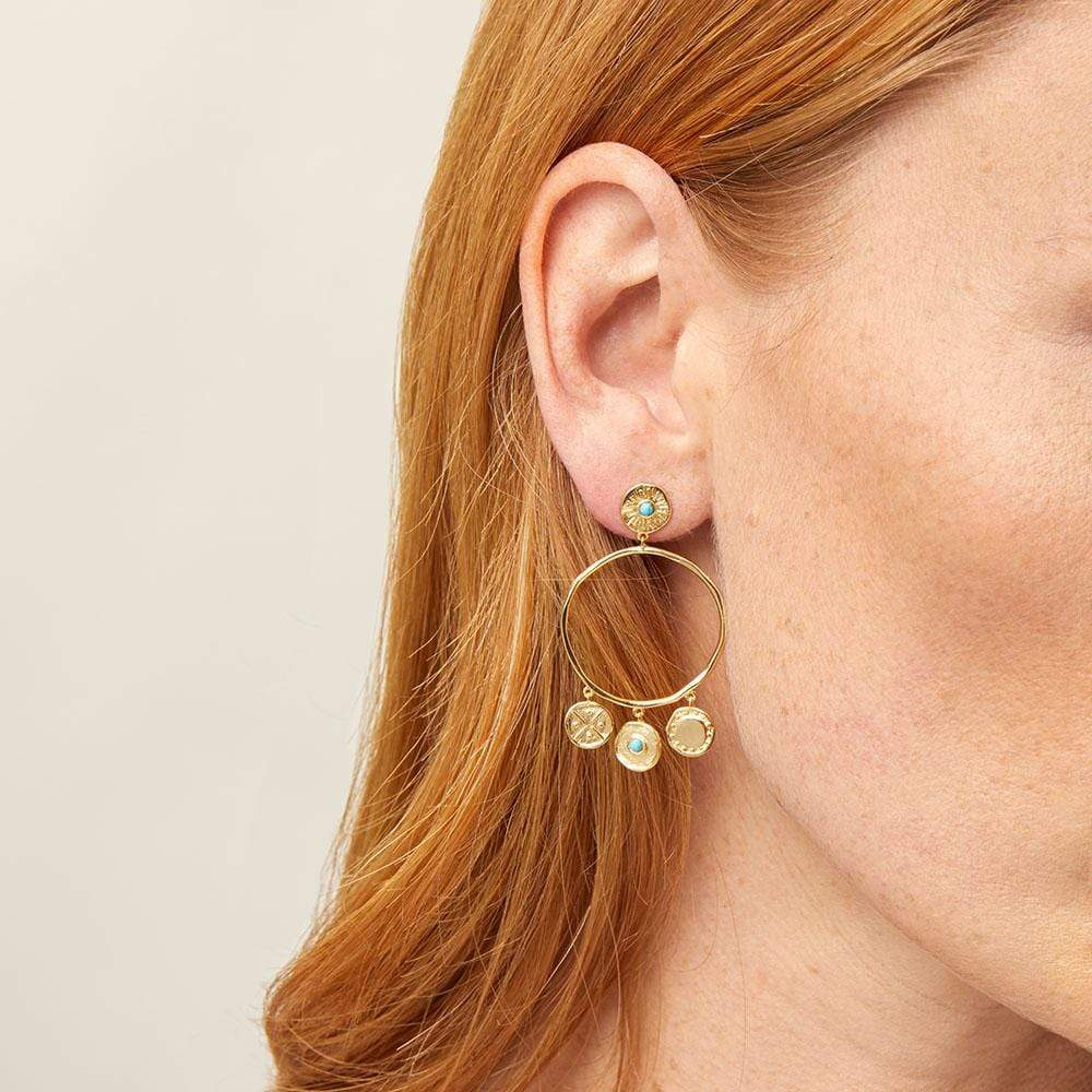 Cruz Coin Drop Earrings Gold Model