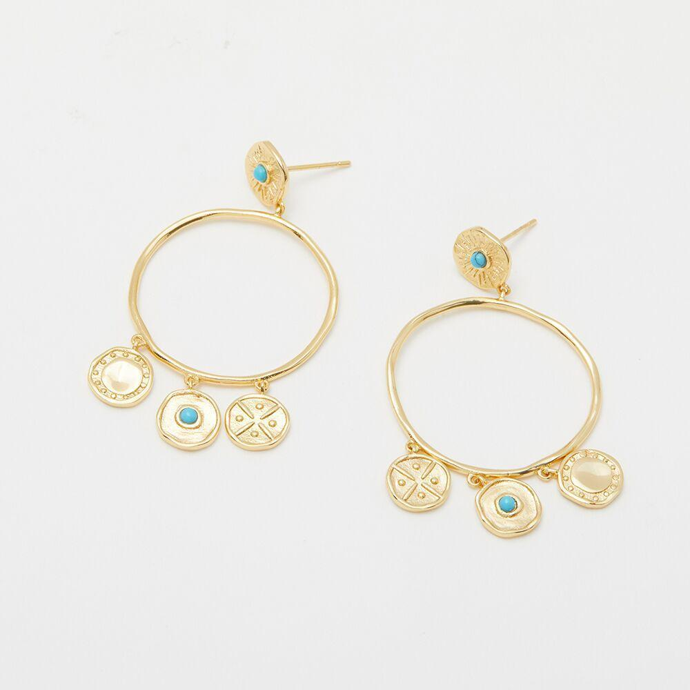 Cruz Coin Drop Earrings Gold Detail
